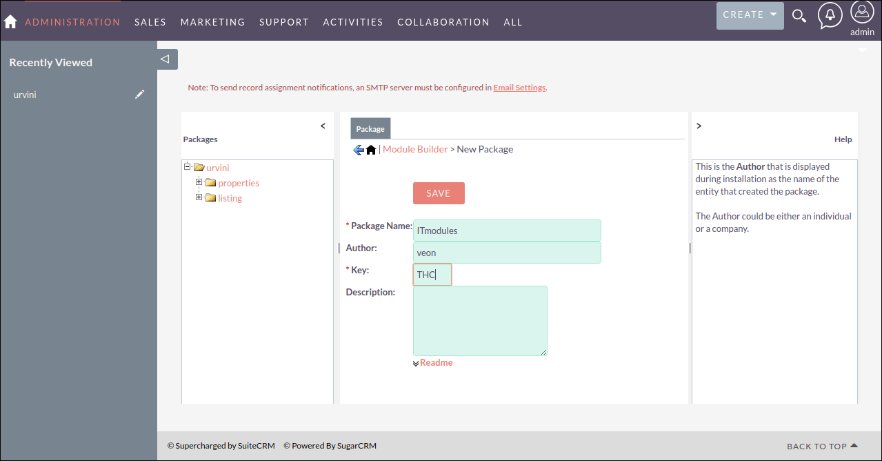 Screenshot of Creating New Package in SuiteCRM