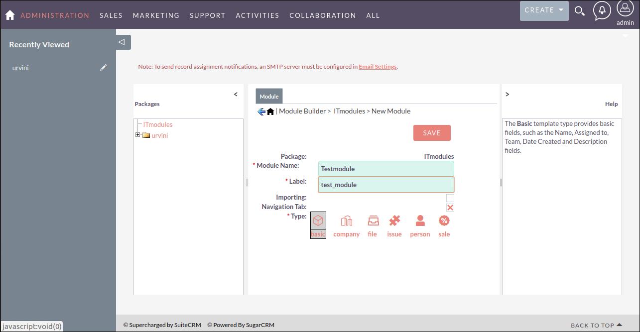 Screenshot of New Module in SuiteCRM