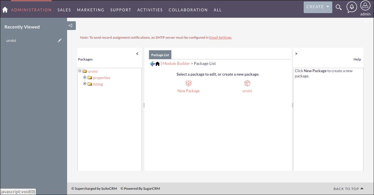 Screenshot of Package List in SuiteCRM